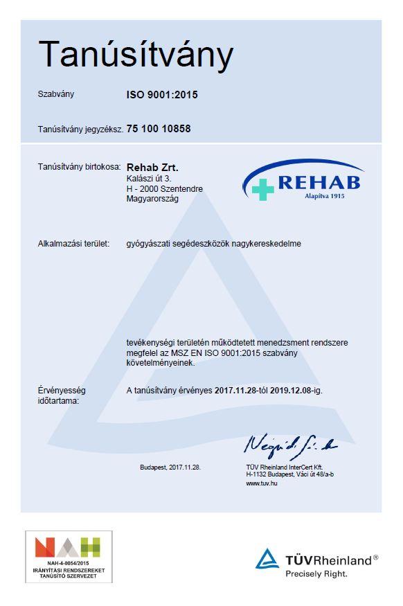 ISO 9001:2015 Minőségirányítási rendszer