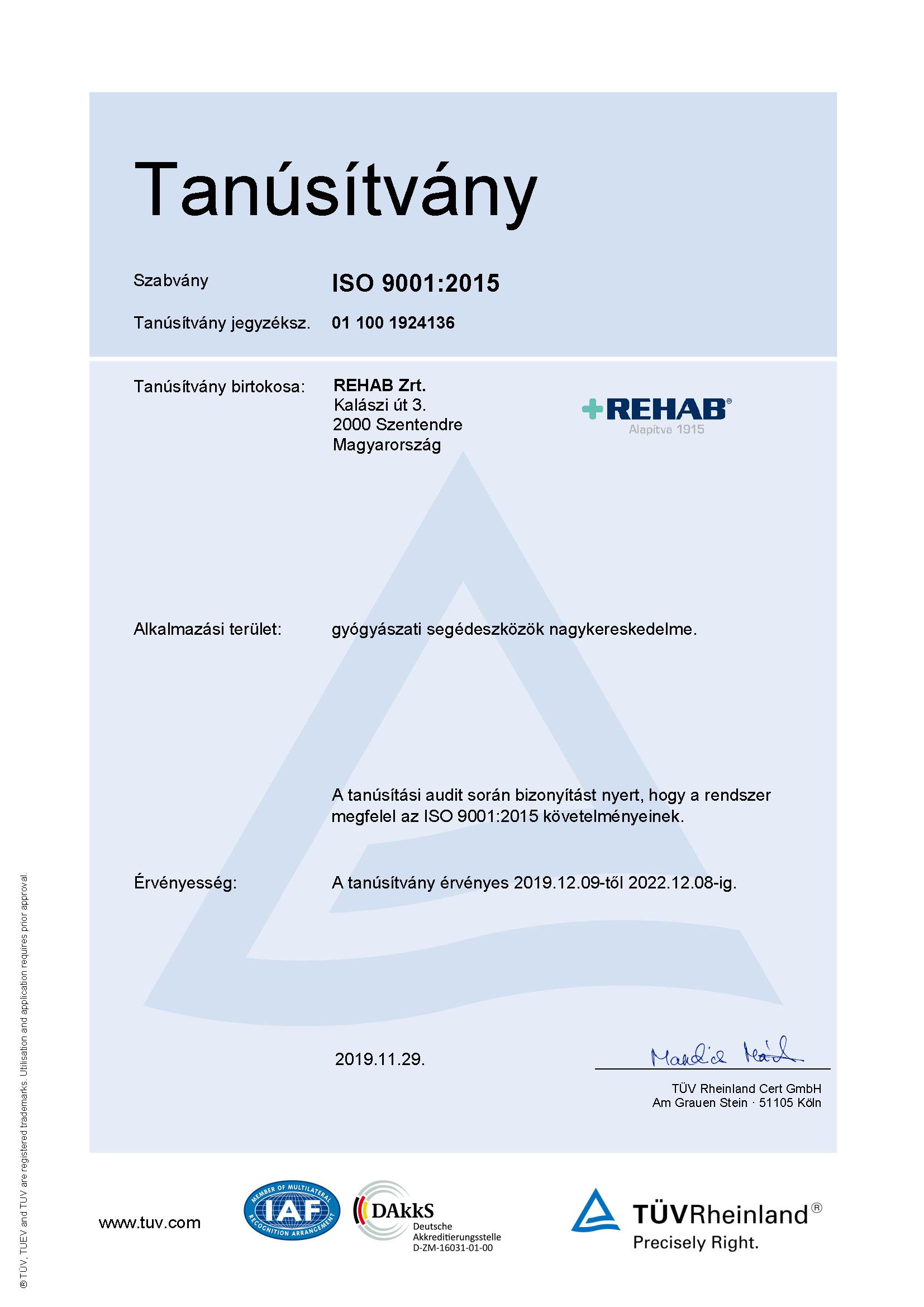 Sikeres MSZ EN ISO 9001:2015 tanúsító audit 2019-ben